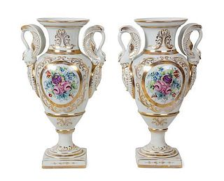 A Pair of Continental Porcelain Baluster Vases Height 18 inches.