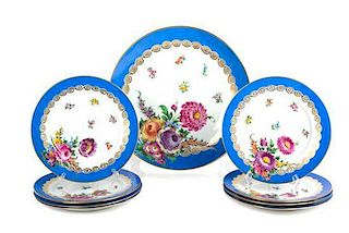 A Collection of Nine Dresden Porcelain Plates Diameter of largest 12 1/2 inches.