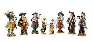 A Group of Eight Capo-di-Monte Porcelain Figures Height of tallest 7 1/4 inches.