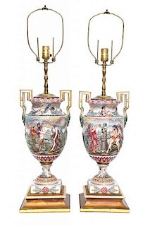 A Pair of Capo-di-Monte Porcelain Urns Height overall 33 inches.