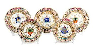 A Collection of Twenty-Seven Capo-di-Monte Porcelain Armorial Plates Diameter of first 10 1/2 inches.