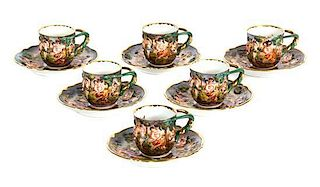 A Collection of Nine Capo-di-Monte Porcelain Demitasse Cups and Saucers Diameter of saucer 4 1/2 inches.