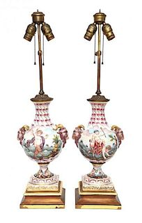 A Pair of Capo-di-Monte Porcelain Vases Height overall 30 inches.