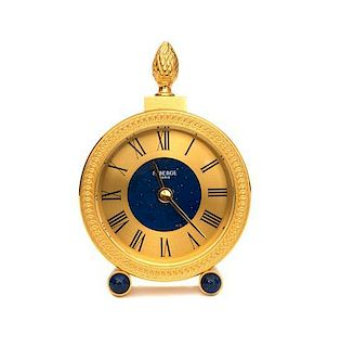 A Contemporary Fabergé Brass Desk Clock Height 5 1/8 inches.