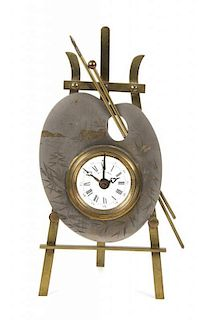 A French Brass Table Clock Height 10 7/8 inches.