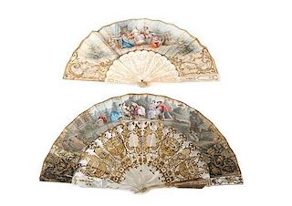 A Set of Four Antique Continental Fans Width of widest 20 inches.