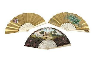 A Set of Three Continental Painted Fans Width of widest 8 3/4 inches.