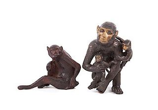 Two Patinated Bronze Sculptures of Monkeys Height of tallest 7 3/4 inches.