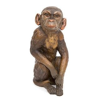 A Continental Painted Ceramic Model of a Seated Monkey Height 15 inches.