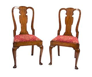 A Pair of Queen Anne Walnut Side Chairs Height 38 inches.