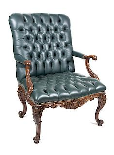 A George I Style Mahogany Library Chair Height 43 inches.