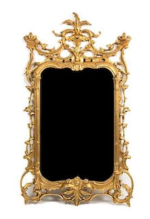 A Pair of Chinese Chippendale Style Giltwood Mirrors Height 55 x width 33 1/2 inches.