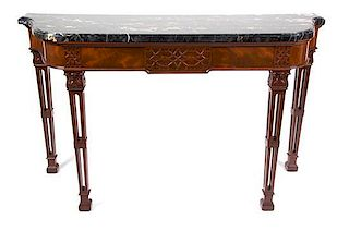 A Georgian Style Mahogany Console Table Height 33 1/2 x width 56 3/4 x depth 20 inches.