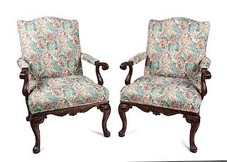 A Pair of George II Style Mahogany Open Armchairs Height 40 inches.