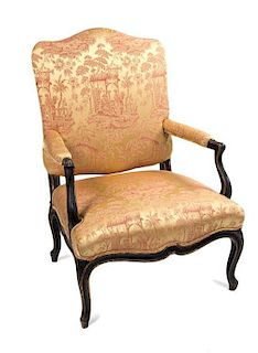 A Georgian Style Mahogany Open Arm Chair Height 40 x width 27 x depth 22 inches.