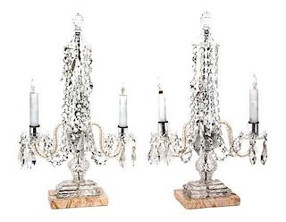 A Pair of Cut Glass Two-Light Candelabra Height 23 3/4 inches.