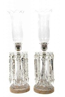A Pair of Molded and Cut Crystal Single Light Candelabra Height 24 1/2 inches.