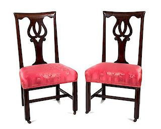 A Pair of George III Mahogany Side Chairs Height 40 inches.