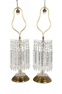 A Pair of Cut Glass Table Lamps Height overall 29 1/2 inches.