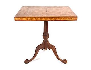 A Georgian Style Parquetry Games Table Height 28 x width 28 x depth 28 inches.