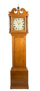 A George IV Tall Oak Case Clock Height 83 x width 19 x depth 9 1/2 inches.