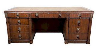 A Georgian Style Mahogany Desk Height 30 1/2 x width 76 x depth 36 inches.