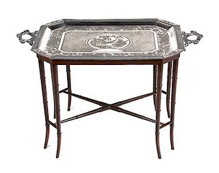 A Decorative Silverplate Tray on Bamboo Stand, Height 21 x width 34 x depth 20 inches.