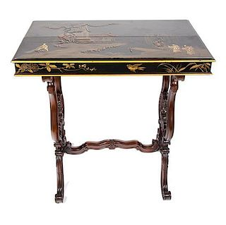 A Pair of Victorian Chinoiserie Lacquer Top Side Tables Height 28 1/2 x width 27 1/2 x depth 15 3/4 inches.