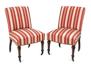 A Pair of Victorian Slipper Chairs Height 32 1/2 inches.