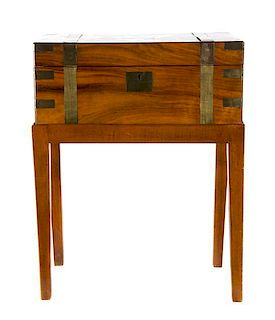 A Victorian Mahogany Writing Box Height 6 1/2 x width 15 3/4 x depth 9 1/4 inches.