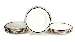 Twelve Mintons Porcelain Dinner Plates Diameter 10 1/2 inches.