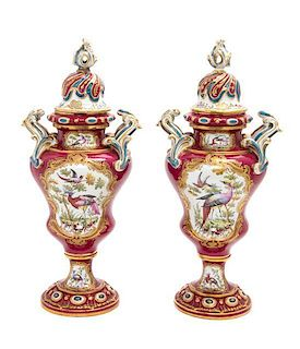 A Pair of Chelsea Porcelain Covered Urns Height 16 1/2 inches.