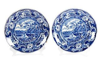 A Pair of American Blue and White Transfer Plates Diameter 10 3/8 inches.