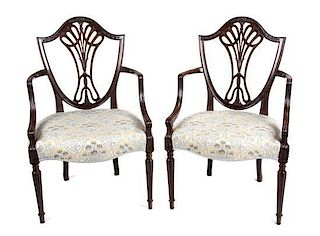 A Pair of Hepplewhite Style Mahogany Open Armchairs Height 36 1/2 inches.