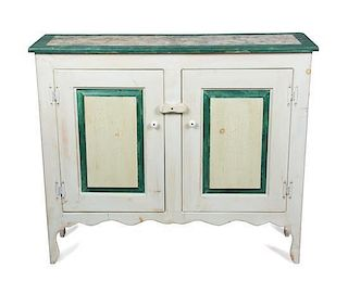 An American Faux Painted Console Cabinet Height 35 3/4 x width 42 x depth 13 inches.