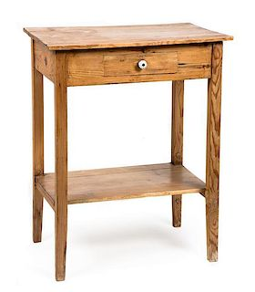 Two Pieces of American Pine Furniture Height of larger 34 1/2 x width 38 x depth 19 1/2 inches.