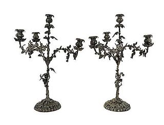 A Pair of Continental Silver-Plate Four-Light Candelabra Height 25 inches.