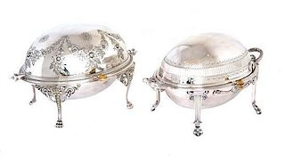 Two English Silver Plate Chaffing Dishes Height of larger 7 1/2, width 12 3/4 x depth 8 inches.
