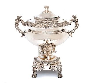 An English Silver-on-Copper Samovar Height 16 1/2 inches.