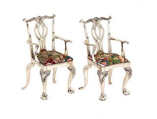 A Pair of Silver Chippendale Style Miniature Armchairs Height 4 3/4 inches.