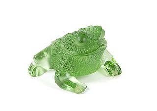 A Lalique Green Crystal Crystal Gregoire Toad Length 4 inches.