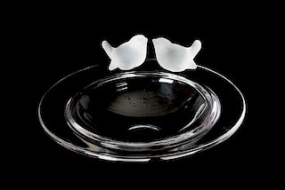 A Clear and Frosted Molded Glass Bowl Diameter 12 inches.