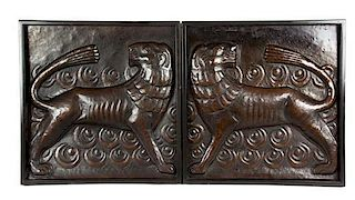 A Pair of Hammered Bronze Panels 10 1/2 x 16 inches.