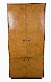 A John Widdicomb Burlwood Bar/Cabinet Height 75 3/4 x width 36 1/4 x depth 19 inches.