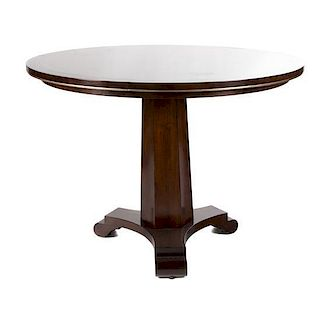 A Custom Dessin Fournir Companies Occasional Table Height 30 1/2 x width 42 x width 42 inches.