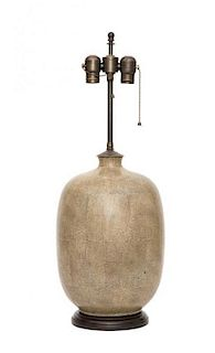 A Contemporary Pottery Table Lamp Height 26 inches.