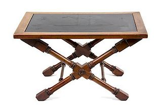 An American Etched Black Stone Top Mahogany Occasional Table Height 16 x width 28 x depth 20 inches.