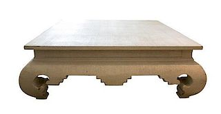 A Chinese Style Low Coffee Table Height 17 1/4 x width 51 x depth 51 inches.