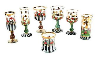 A Collection of MacKenzie Childs Glass Stemware Height of tallest 7 1/2 inches.