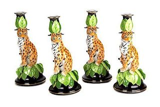 A Set of Four Lynn Chase Porcelain Candlesticks Height 11 1/2 inches.